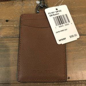 NWT Authentic Coach Sport Calf Leather ID Lanyard